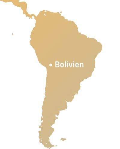 Südamerika Karte mit Kennzeichnung von Bolivien