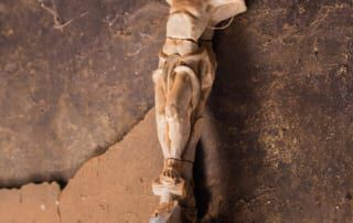Beschädigte Jesusstatue am Kreuz