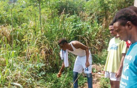 Junge Nigerianer betreiben Landwirtschaft