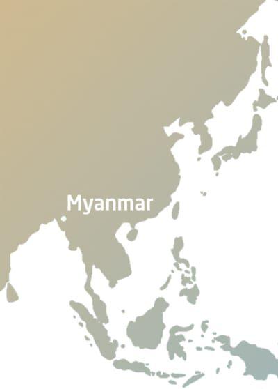 Myanmar auf der Weltkarte