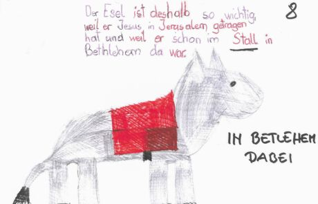 Zeichnung vom Esel, der in Bethlehem dabei war