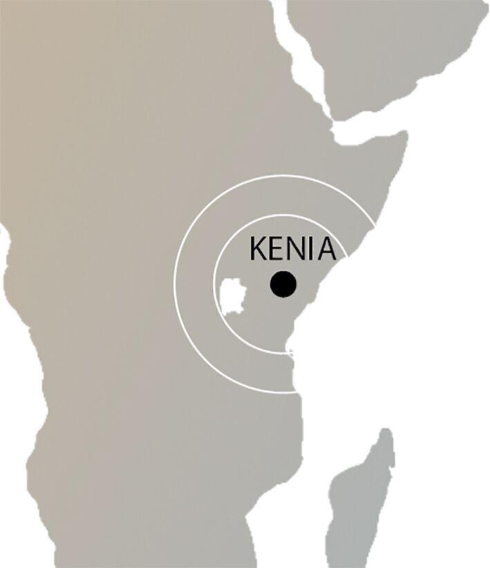 Kenia auf der Weltkarte