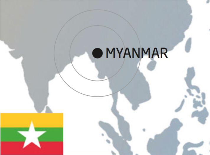 illustrierte Abbildung von Myanmar auf der Weltkarte