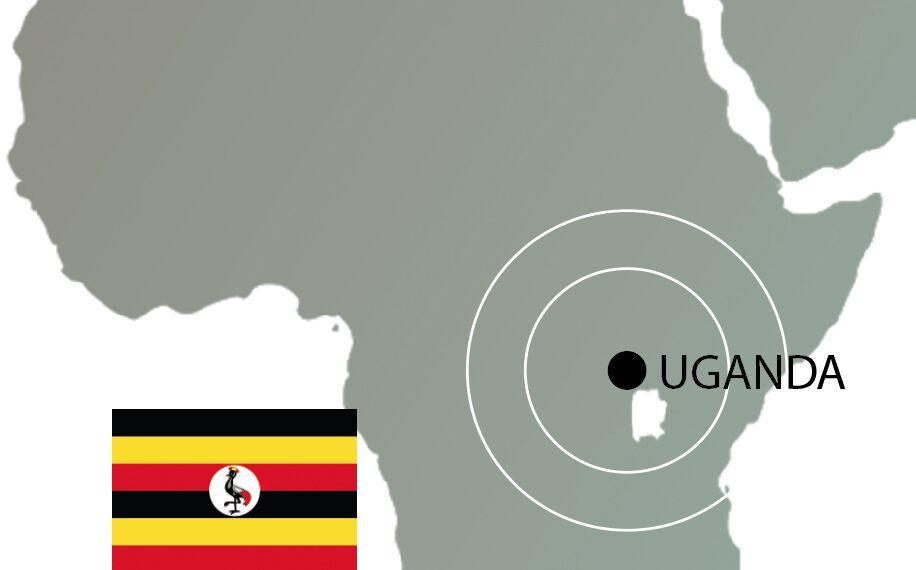 Uganda auf der Weltkarte