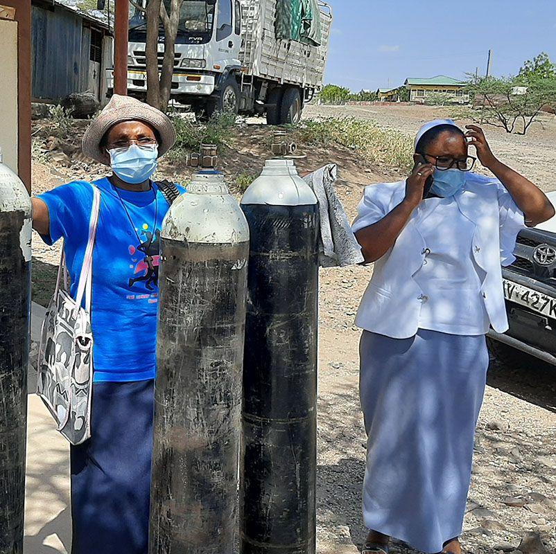 Sauerstoffflaschen für die COVID-Erkrankten in Lodwar